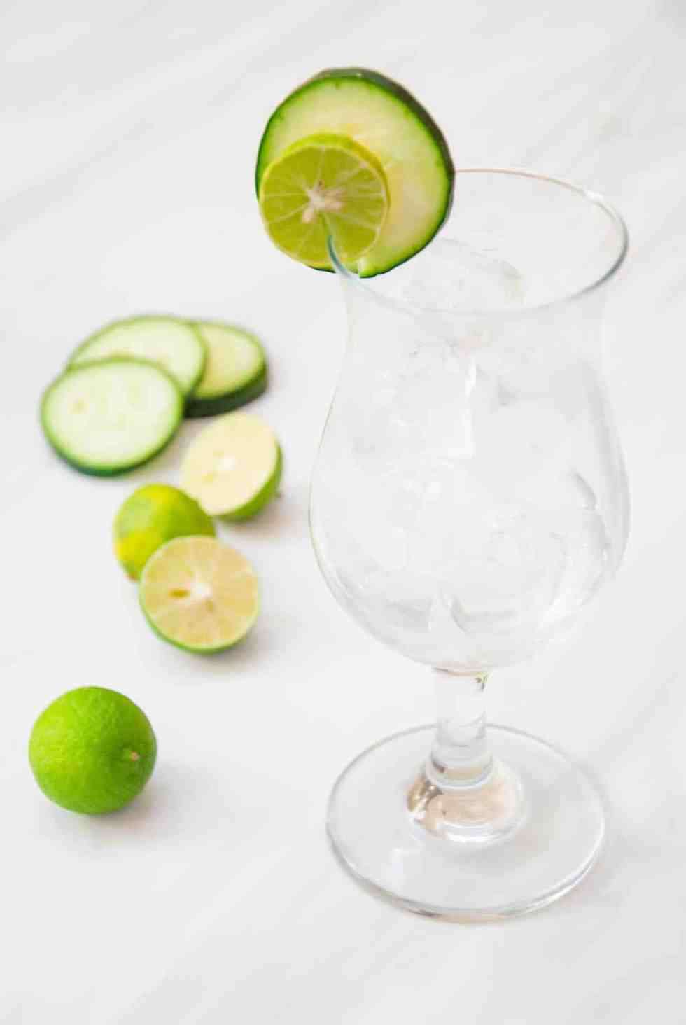 Island-Inspired Edible Cocktail Garnish: Cucumber + Key Lime
