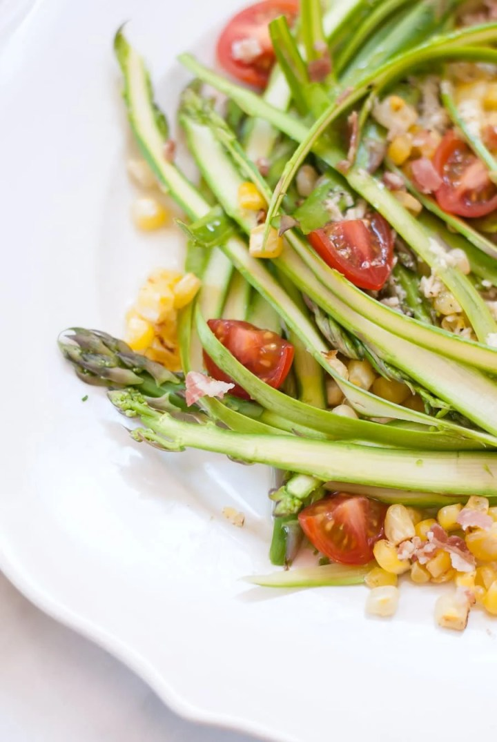 Asparagus Ribbon Salad with Crumbled Pancetta and Parmesan