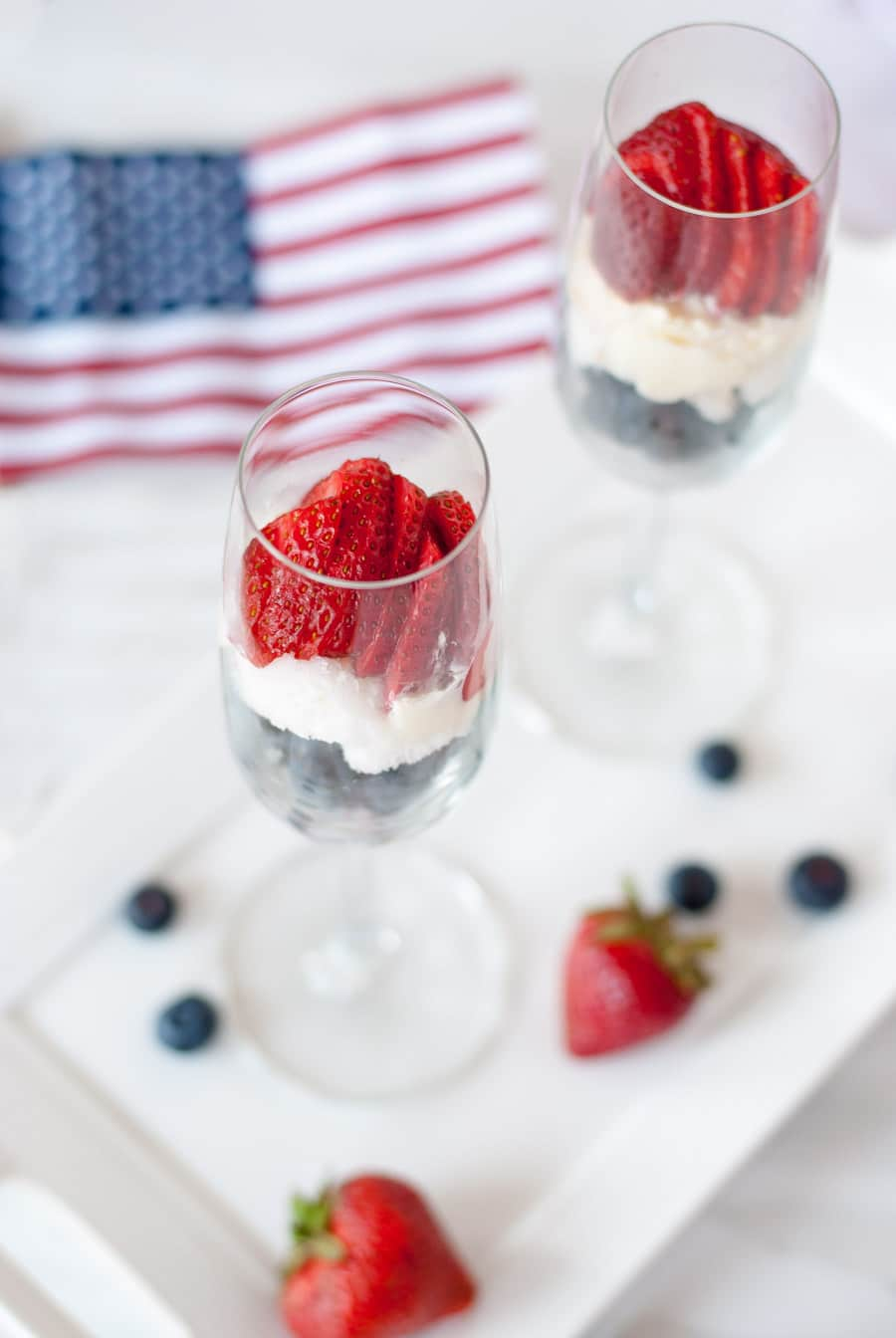 Patriotic Dessert Parfait with Summer Berries & Lemon Zest Whipped Cream