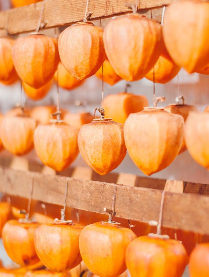 Dried Hoshigaki Persimmons at Otow Orchard, Granite Bay CA