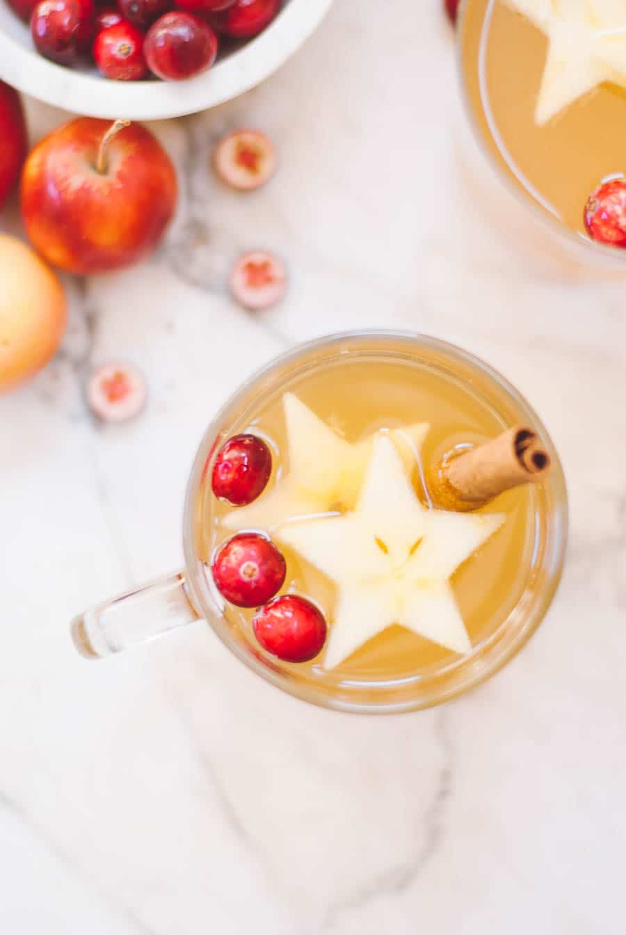 Cider in a mug with star decorations