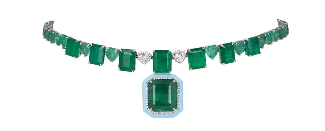 KAMYEN JEWELLERY - EMERALD & DIAMOND CHOKER