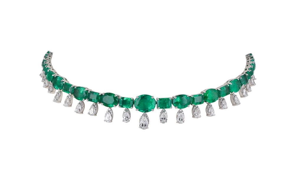 KAMYEN JEWELLERY - EMERALD & DIAMOND CHOKER (REF: P-G75)