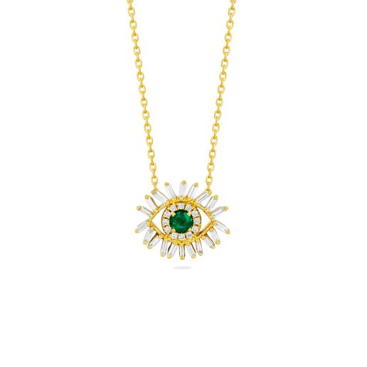 SUZANNE KALAN MINI EMERALD EVIL EYE NECKLACE