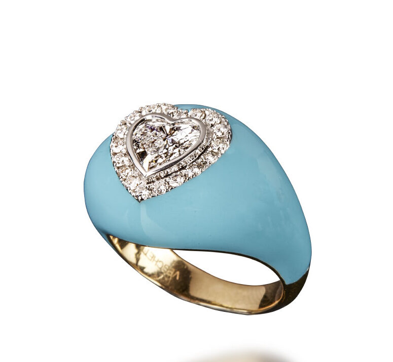 "VESCHETTI - ""ARCOBALENO"" RING IN LIGHT BLUE"