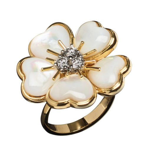 VESCHETTI JEWELS - PETITES FLEURS IN WHITE MOTHER OF PEARL INLAY