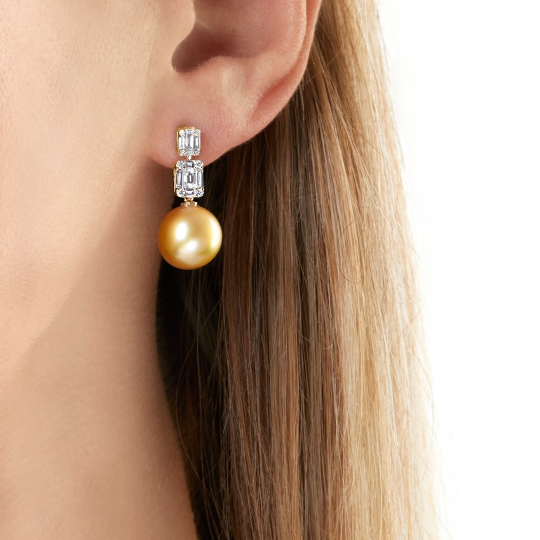 "YOKO LONDON - ""STARLIGHT"" GOLDEN SOUTH SEA PEARL AND DIAMOND EARRINGS"