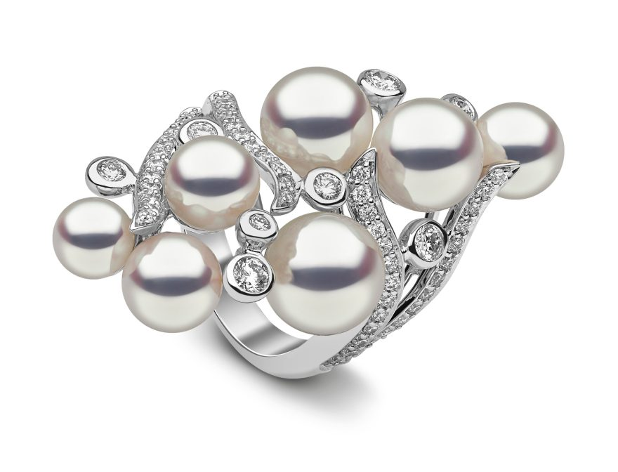 "YOKO LONDON - ""RAINDROP"" AKOYA PEARL & DIAMOND RING"