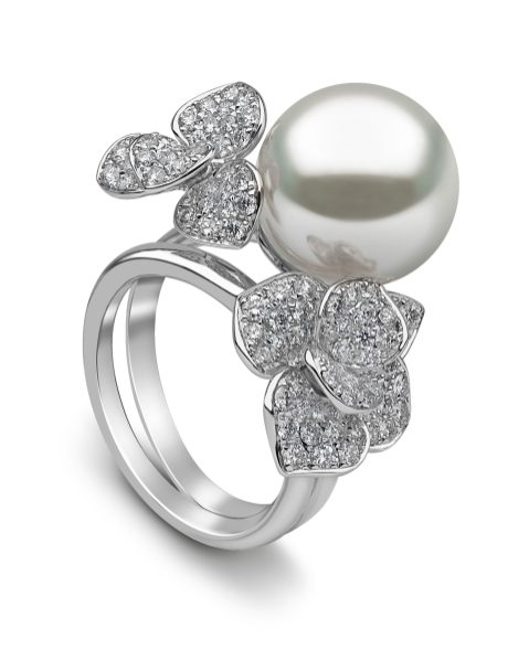 YOKO LONDON - PETAL SOUTH SEA PEARL & DIAMOND RING