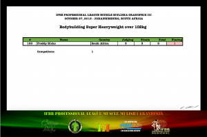 MMGPIII Bodybuilding Super Heavyweight Official Score Card