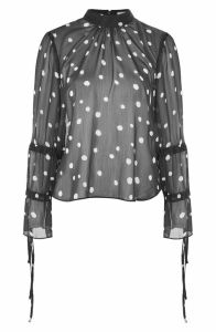 Drawstring Sleeve Sheer Dot Blouse Topshop Nordstrom anniversary sale 2017