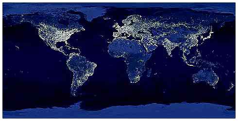 light pollution, Earth, night, satellite, NOAA