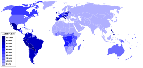 Distribution of Catholic population globally
