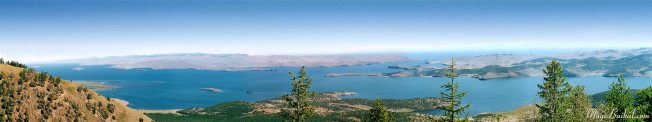 Lake Baikal. Panorama of the Maloye Morye, Island of Olkhon, the Olkhonskiye Vorota Straits, and Mukhor Cove Image: Magic Baikal