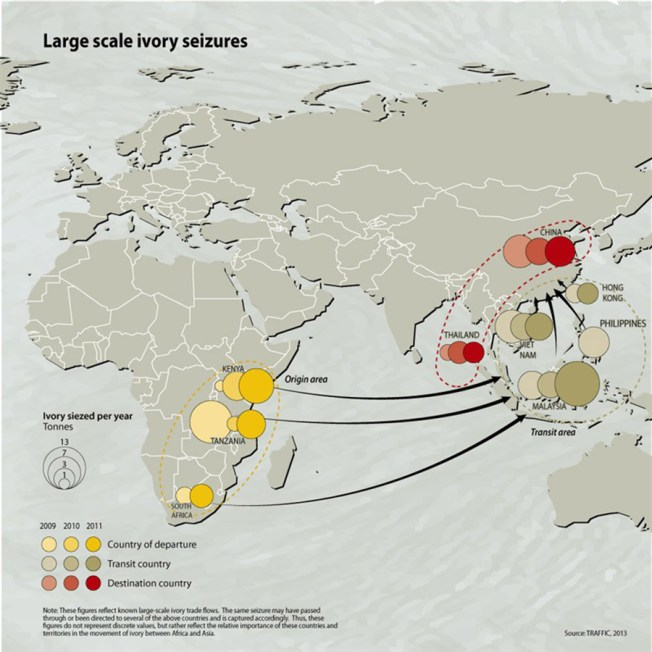 Large-scale ivory shipments originating from Africa have almost exclusively been seized in containers at major ports in Asia, where there is an established customs inspection system. Shipments mainly originate from Dar es Salaam, Mombasa and West Africa. Graphic: Riccardo Pravettoni, GRID-Arendal via whyfiles.org