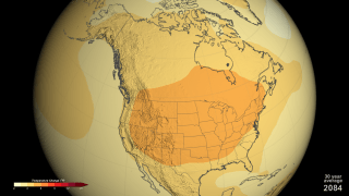 Scenario showing temperatures during June, July, and August (US summer) with CO2 levels at 550 ppm. Source: NASA