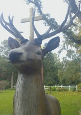 Full size stag, plastic, with a cross. Photo: PK Read