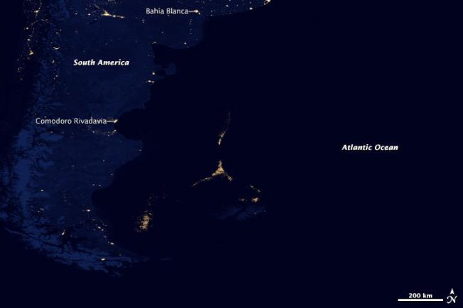 In 2012, a global composite map of Earth's night lights revealed human activity well offshore from South America.  Caption/Credit: NASA Earth Observatory/NOAA National Geophysical Data Center