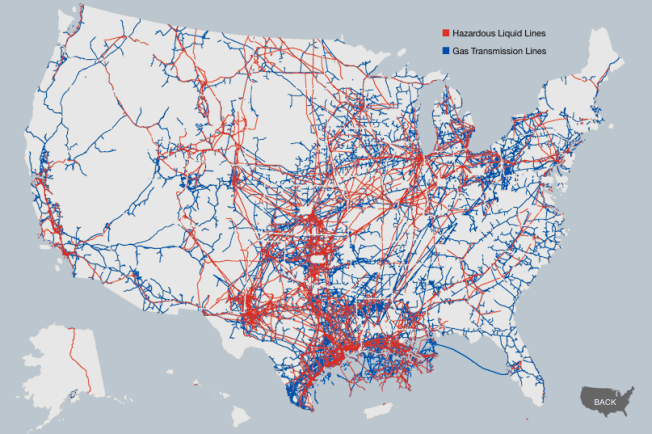 Oil and gas pipelines Source: ProPublica Click here for the interactive version