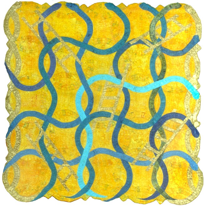 Snakes & Ladders - Painted quilt Artist: Denise Furnish
