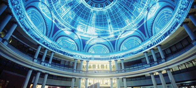 The Westfield dome in San Francisco, during a sound and light performance. Photo: SF Examiner