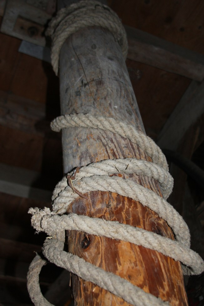 The turning pole, which was walked in circles against another rod, which would turn the gear  attached to the pressing vat central pole.  Photo: PK Read