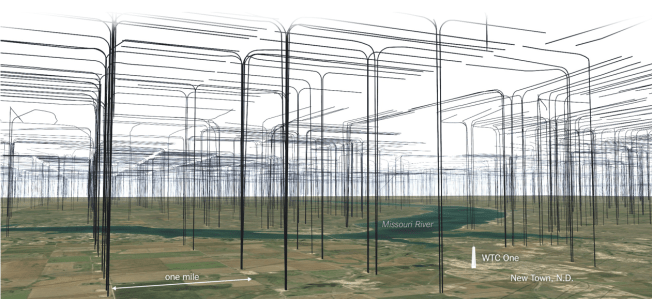 The area around New Town, North Dakota, from What North Dakota Would Look Like if Its Oil Drilling Lines Were Aboveground Source: Gregor Aisch/NYT