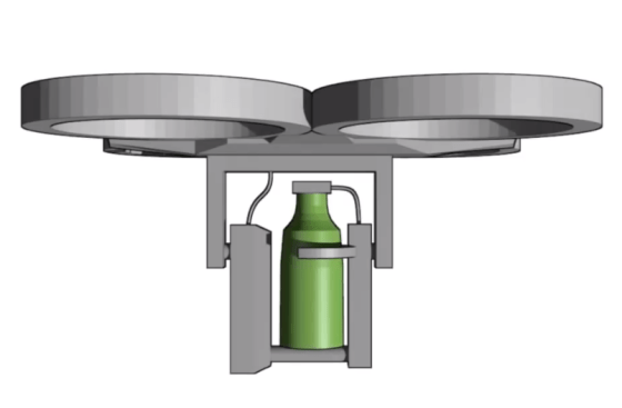 The Biocarbon Engineering drone, with a pressurized cannister for injecting seed pods. Source: Biocarbon Engineering