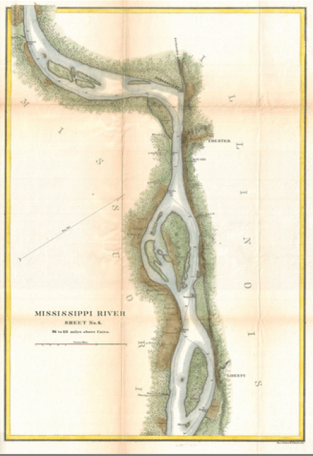 Sheet 6 of the 1865 U.S. Coast Survey Map of the Mississippi River from Cairo, IL to St. Marys, MO.  Source: Wikimedia