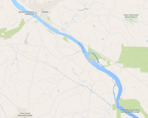The same stretch of river, with St. Mary, Missouri in the upper left corner.  Source: Googlemaps