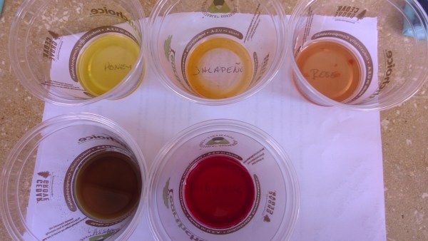 A few samples of simple syrup: Honey, jalapeño, rose, lavender, hibiscus.