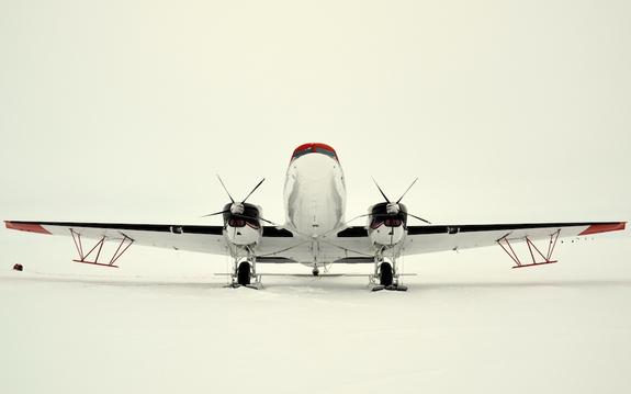 The aircraft that researchers flew over East Antarctica to map Totten Glacier. Credit: Chad Greene via LiveScience