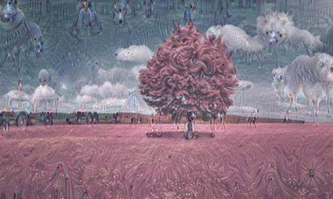 All images here are the result of the Google image recognition neural network - which looks for patterns in pictures. A hallucinatory filter over a red tree.  Photograph: Google via Guardian