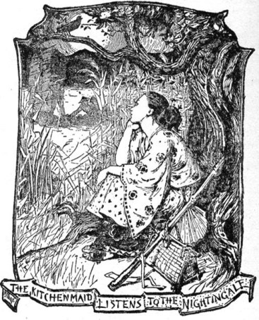 The Kitchenmaid Listens to the Nightingale. From: Henry Justice Ford in Lang, Andrew, Ed. The Yellow Fairy Book.
