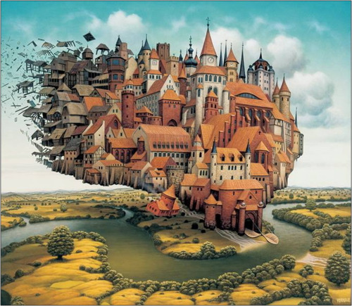 High City Blowing Away Artist: Jacek Yerka via Saatchi Gallery