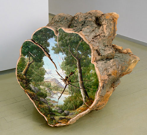 Trophy - Oil on fallen log (1998) Artist: Alison Moritsugu
