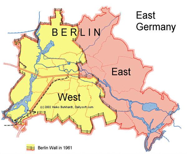 Berlin divided, 1961. Source: Berlin Wall Online