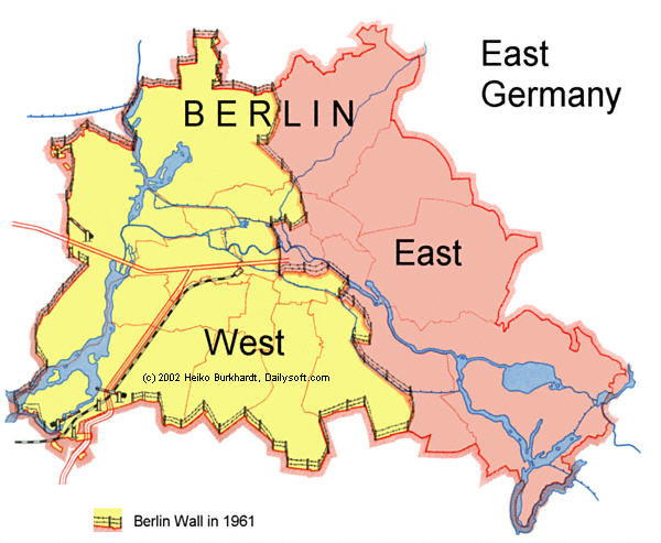 Berlin divided, 1961. Source: Berlin Wall Online