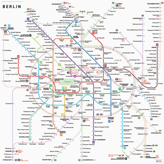 Berlin subway system, as visualized by Jug Cerovic, who has created standardized subway maps for cities around the world. Source: DesignBoom