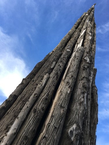 The Spire, by Andy Goldsworthy. Composed of 37 steel-armatured cypress tree trunks, felled as part of the Presidio's re-forestation program. Photo: PKR