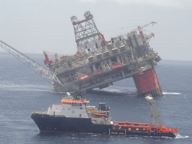 Controlled sinking of an oil rig. Source: desdemonadespair