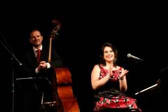 on stage at the opera house in Mongolia