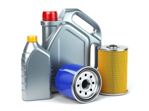 Semi-synthetic lubricant containers and oil filters.