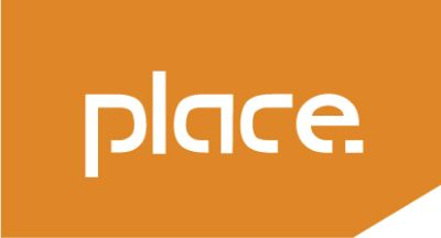 Place Logo - White text with orange background