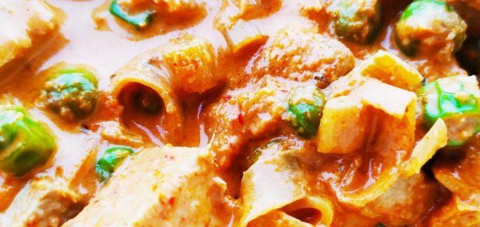 tofu poireau et petits pois panang