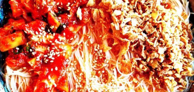 vermicelles de riz au kimchi maison