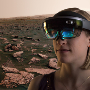 Rachel Kronyak uses the HoloLens to look at the surface of Mars.