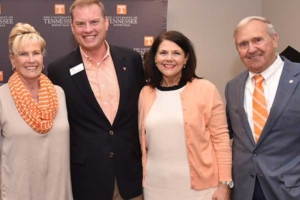 Kay Stokely, Chip Bryant, Chancellor Davenport, and Bill Stokely