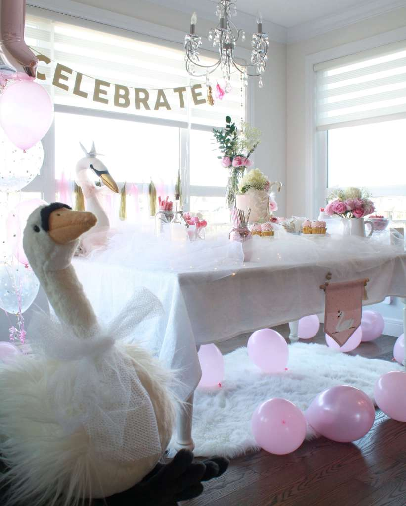 Jellycat Plush Swan Overlooks First Birthday Princess Party Decor
