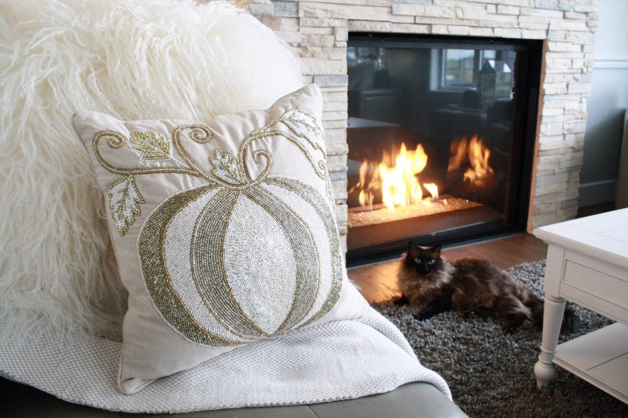 This gold beaded Pier 1 Imports pumpkin cushion is a glamorous fall pillow!